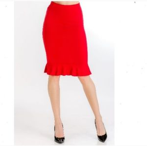 Dresses & Skirts - Red Ruffled Pencil Skirt Size Small